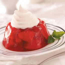 STRAWBERRY RHUBARB GELATIN:  Photo courtesy of http://www.tasteofhome.com
