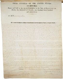 The Alien and Sedition Acts of 1798 were of dual purpose: to prevent conspiratory attacks against the nation from Britain, and to reduce Thomas Jefferson's support base in the next election. Courtesy of the US National Archives.