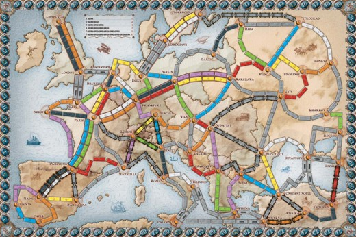 The European game board connects cities in European countries.