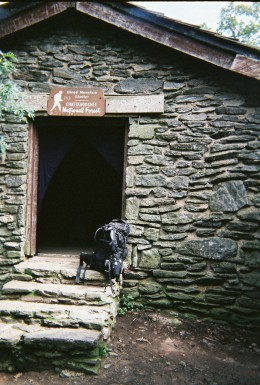 A rare four-walled shelter on Blood Mountain, GA