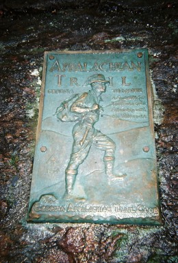 """Plaque at end of trail reads: """"A Footpath For Those Who Seek Fellowship with the Wilderness"""""""
