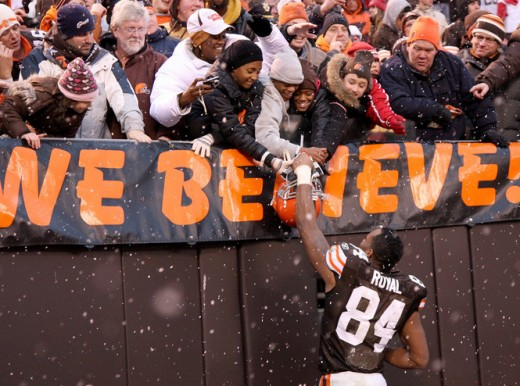 Robert Royal is greeted by fans as he walks off the field after the game between the Cleveland Browns and the Oakland Raiders at Cleveland Browns Stadium on Sunday December 27, 2009.