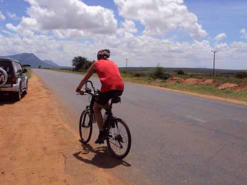 Andrei 'The Animal' cycling 120km of the way to Pangani