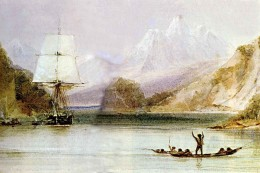 HMS Beagle in South America by Conraqd Martens, shipboard artist