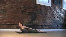Cobra Variation - When doing this pose make sure you keep your body long from the hips to the armpits, and that the shoulders move back, shoulder blades coming more onto your back. Do NOT push the shoulders down away from your ears.