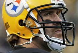 Pittsburgh Steelers quarterback Ben Roethlisberger stands on the sidelines during the fourth quarter of an NFL football game against the Baltimore Ravens in Pittsburgh, Sunday, Dec. 27, 2009. The Steelers won 23-20. (AP Photo/Gene J. Puskar)