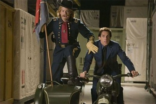 "General Custer and Larry Daley fleeing from Kahmunrah and cohorts. Scene from ""Night at the Museum 2: Battle of the Smithsonian."""