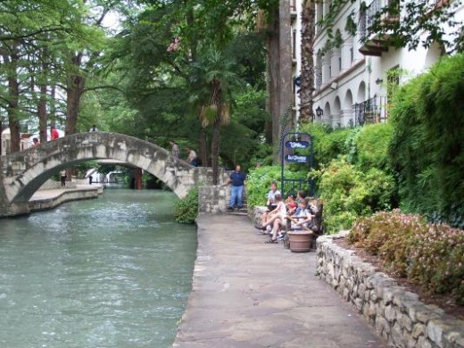 The Riverwalk - Its water is green due to the San Antonio Zoo dumping Hippo Poop in it.