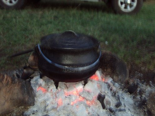 My cooking potjie on the hot coals