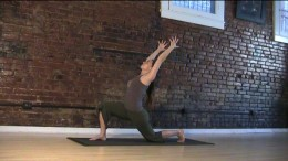 Lunge Hip Flexor Stretch - Keep the hips square and don't let the back thigh drop down, instead draw the legs toward each other so they're strong, then push out through the legs and feet to get taller in your spine.
