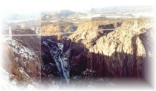 3 photos pieced together to show this view of the Royal Gorge and record breaking suspension bridge across it.