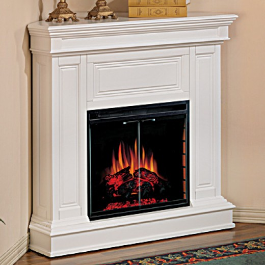 "Phoenix 23"" White Electric Fireplace Corner Mantel Package"