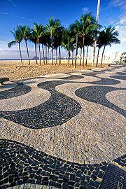 Wave pattern in Portuguese pavement at Copacabana beach