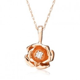 """Picture of 14k Rose Gold Diamond Rose Pendant (.03 cttw, J Color, I2 Clarity), 18"""""""