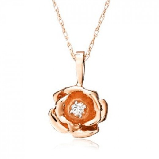Picture of 14k Rose Gold Diamond Rose Pendant (.03 cttw, J Color, I2 Clarity), 18""