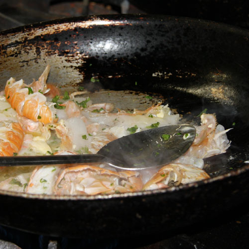Scampi in a pan