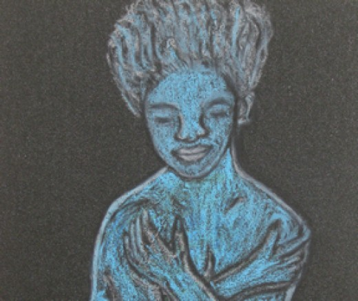 Blue Lady: Abstract art by Injete Chesoni. Peace personified.