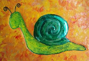 Green Snail: Snail Art by Injete Chesoni.