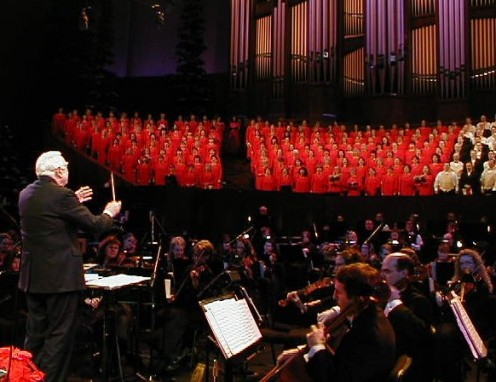 Walter Cronkite conducts the Mormon Tabernacle Choir and Orchestra at Temple Square in the Hallelujah Chorus from Handel's Messiah.