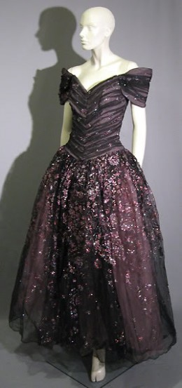 Dark silver satin with silver and bead embroidery