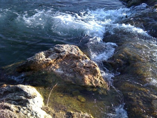 Beautiful rocky areas with running water.