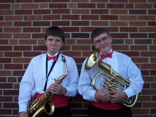 Danny plays the saxophone and Sam plays the baritone.