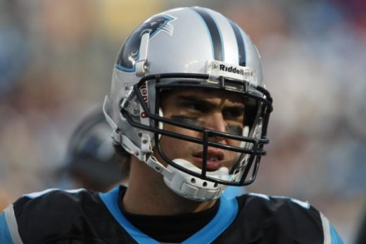Carolina Panthers quarterback Matt Moore on the sidelines as the Panthers play the New Orleans Saints in an NFL football game in Charlotte, N.C., Jan. 3, 2010. (AP Photo/Nell Redmond)