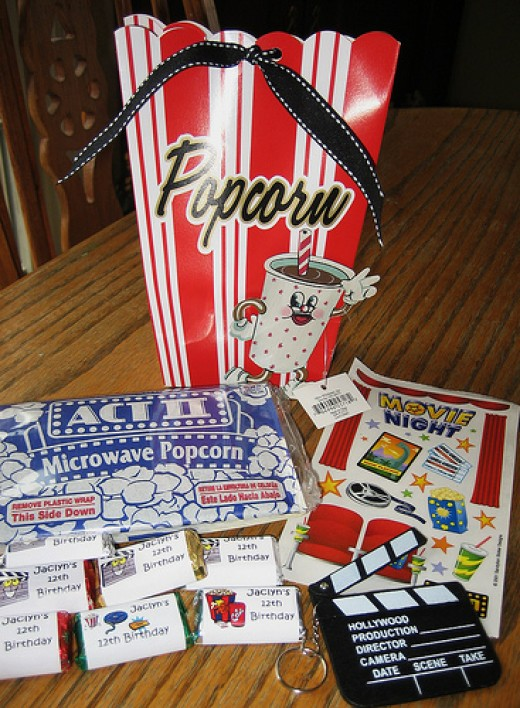 Popcorn Box Party Favors for my daugther's Movie Night Birthday Party.