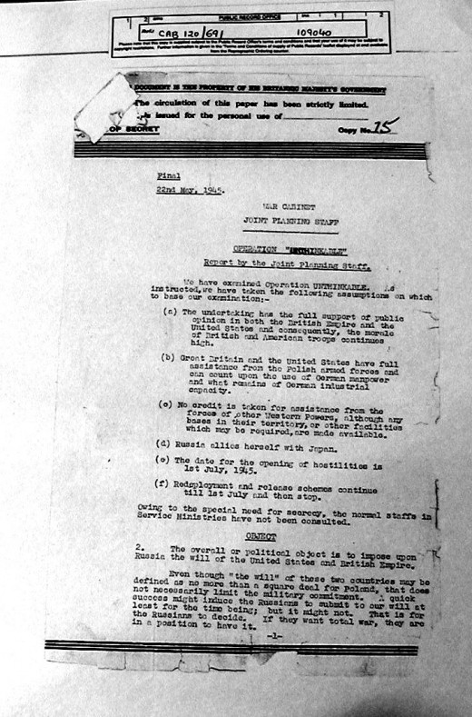 First page of Operation Unthinkable