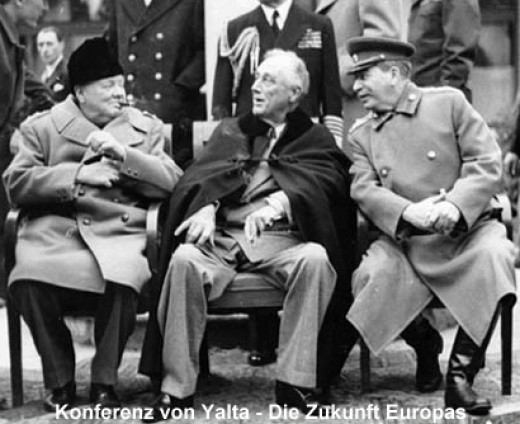 Churchill,Roosavelt and Stalin at Yalta.