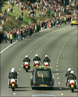 On September 6, 1997 thousands of mourners lined the route of Princess Diana's funeral procession.