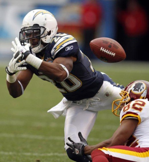 San Diego Chargers cornerback Antoine Cason, left, fails to haul in an interception while Washington Redskins' Antwaan Randle El, right, watches during the fourth quarter of an NFL football game Sunday Jan. 3 , 2010 in San Diego. (AP Photo/Chris Park