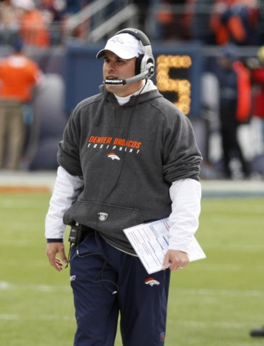 Denver Broncos head coach Josh McDaniels looks on against the Kansas City Chiefs in the first quarter of an NFL football game Sunday, Jan. 3, 2010, in Denver. (AP Photo/ Ed Andrieski )