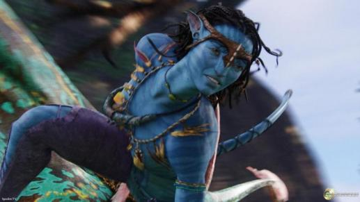 Na'vi's are blue, with bright eyes and a tail.