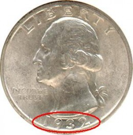 The date is located below the bust of George Washington, highlighted in red above.