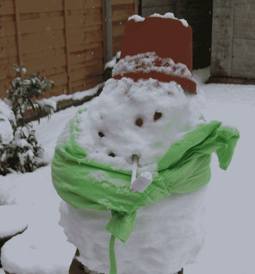 Our current snowman. Yes, it is a man as it is wearing hubby's old jacket.