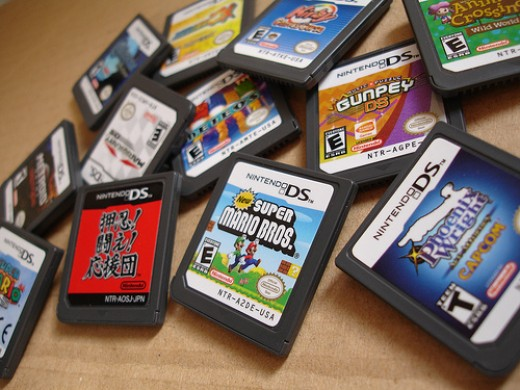 A pile of Nintendo DS game cartridges, provided by Cdammen at Flickr.com