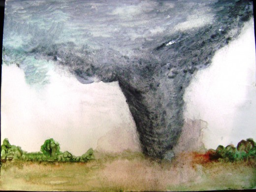 I think I was trying to paint a real tornado I saw once. I have no idea because this is another one I don't remember painting.