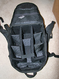 The inside of the Canon Deluxe backpack