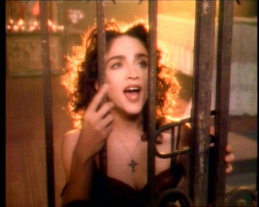 "Madonna in her ""Like a Prayer"" video"