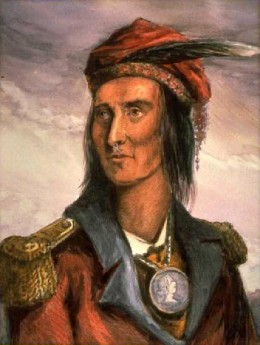 This 1848 dipiction of Tecumseh by Benson Lossing is based on a sketch done in 1808.  Lossing mistakenly put him in a British uniform topcoat.