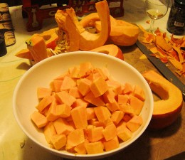 Chop the pumpkin into cubes
