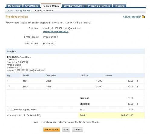 Review & Click Send Invoice