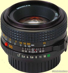 A 50mm Minolta lens showing f-stop numbers from kenrockwell.com