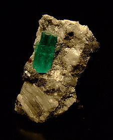 A naturally occurring crystal mined in Muzo, Columbia from wikimedia.commons