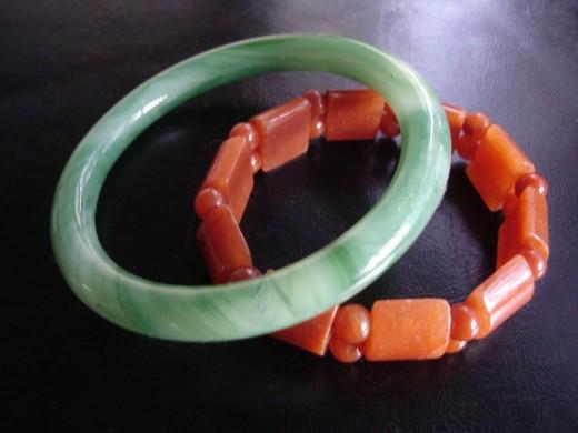 Light green jade bangle and a Carnelian beaded bracelet - property of author
