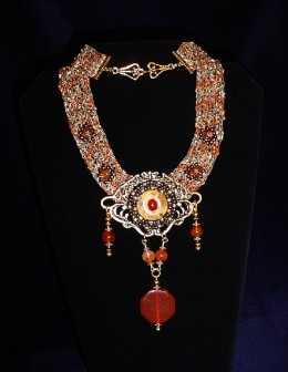 Exquisitely woven Carnelian beaded Necklace from mjcraftsdesignstudio.blogspot.com