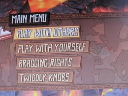 """The Main Menu of Fat Princess, and it's giggle producing option to """"play with yourself""""."""