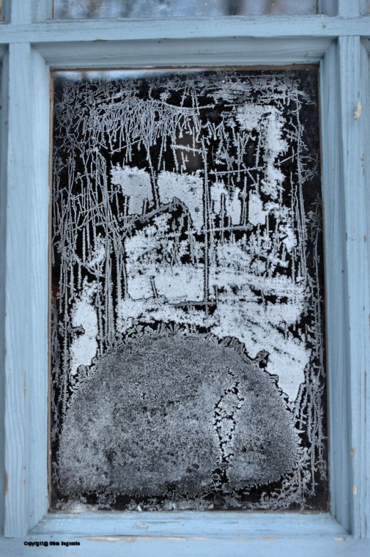 I don't know if I could paint a picture as pretty as what the frost made on the garage access door this morning. Kind of looks like a Chinese style composition in a Victorian silhouette.