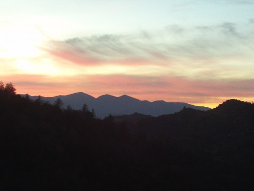 The San Bernardino Mountains are beautiful at sunset!  Only when walking can you see views such as these.
